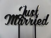 Just Married Black Cake Topper