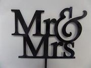 Mr & Mrs Black Cake Topper