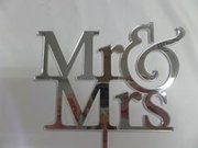 Mr & Mrs Silver Cake Topper