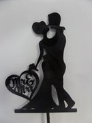 Bride and Groom Silhouette Black Topper