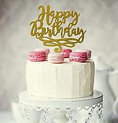 HAPPY BIRTHDAY (Gold Glitter) - Cake Topper