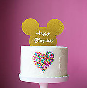 MOUSE Happy Birthday (Gold Glitter) - Cake Topper