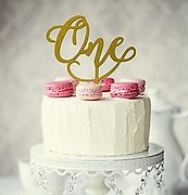 Number ONE (Gold Glitter) - Cake Topper