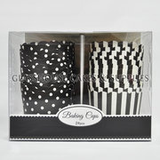 Striped & Polka Dot Card Cupcake Cups - Black - Small