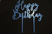 Happy Birthday Glitter Blue Cake Topper