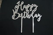 Happy Birthday Silver Cake Topper