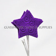 6 Icing Stars on Wires - Dark Purple