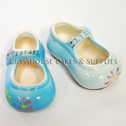 Pair of Blue Glazed Ceramic Shoes