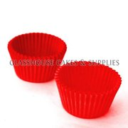50 Mini Patty Cups Red