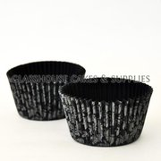 50 Floral Patty Cups - silver/black