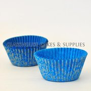 50 Floral Patty Cups - silver/blue