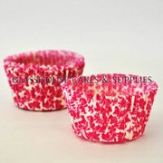 50 White/pink Floral Patty Cups