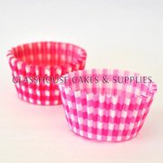 50 Dark Pink Checkered Patty Cups