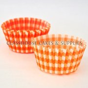 50 Orange Checkered Patty Cups