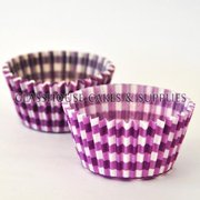 50 Violet Checkered Patty Cups