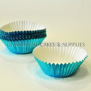 50 Mini Metallic Blue Patty Cups