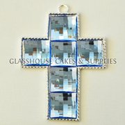 Large Diamante Cross - Blue