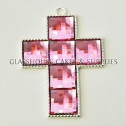 Large Diamante Cross - Pink
