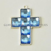 Small Diamante Cross - Blue