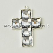 Small Diamante Cross - White
