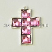 Small Diamante Cross - Pink