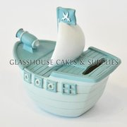 Blue Ship Ceramic Cake Topper