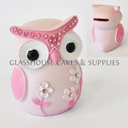 Pink Owl Ceramic Topper