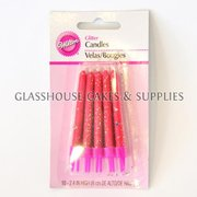 10 Pink Wilton Glitter Candles