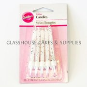 10 White Wilton Glitter Candles