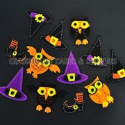Halloween Foam Decorations - Owls and Witches' Hats