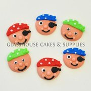 Baby Pirate Faces Edible Toppers - 6 pack