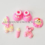 Baby Girl Mixed Edible Toppers - 6 pack