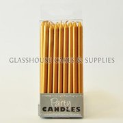 Small Gold Tapered Party Candles