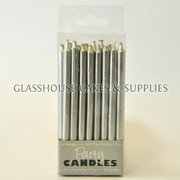 Small Silver Tapered Party Candles