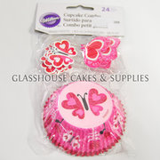 Wilton Pink Butterfly Wilton Cupcake Case and Pick Set