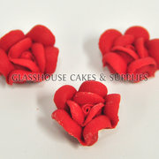 Small Red Roses Icing Toppers 12 pack