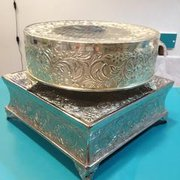14 inch Silver Cake Stand Round