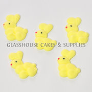 Yellow Bunny Rabbit Edible Toppers - 12 pack